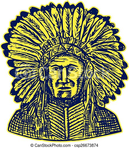 Native American Indian Chief Warrior Etching - csp26673874