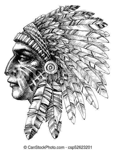 e2ad8076f8112 Native american indian warrior profile with war headdress, t-shirt ...