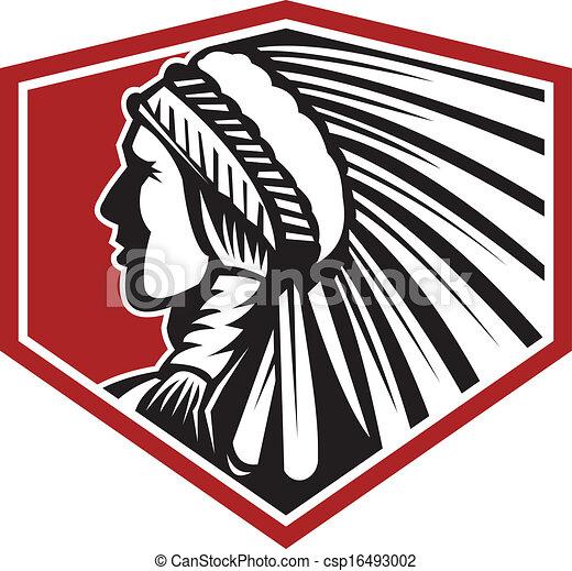 Native American Indian Warrior Side Retro - csp16493002
