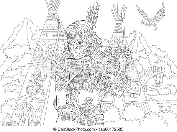 American Indian Coloring Pages - Get Coloring Pages | 341x450