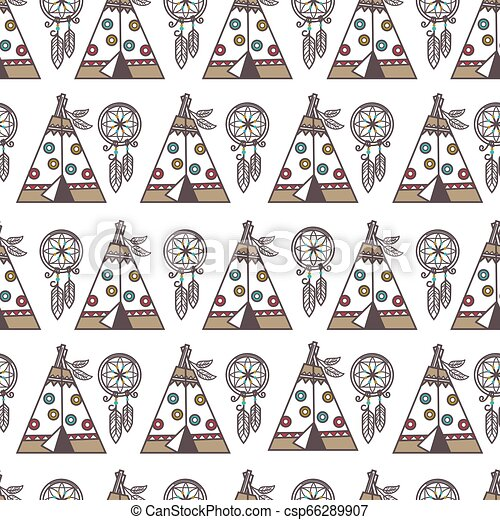 Native American Indians traditional culture symbols pattern background
