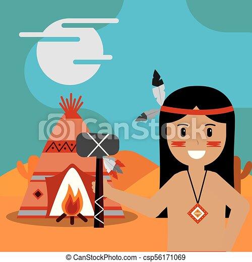 native american people cartoon - csp56171069