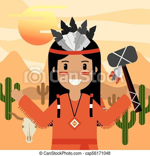 native american people cartoon - csp56171048