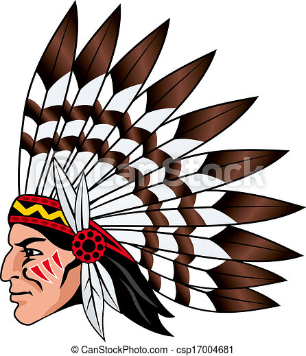 Native American People With Feathers On The Head For Mascot
