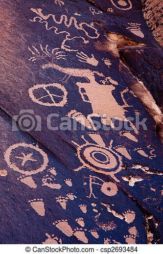 Native American Petroglyphs, Newspaper Rock, Utah - csp2693484