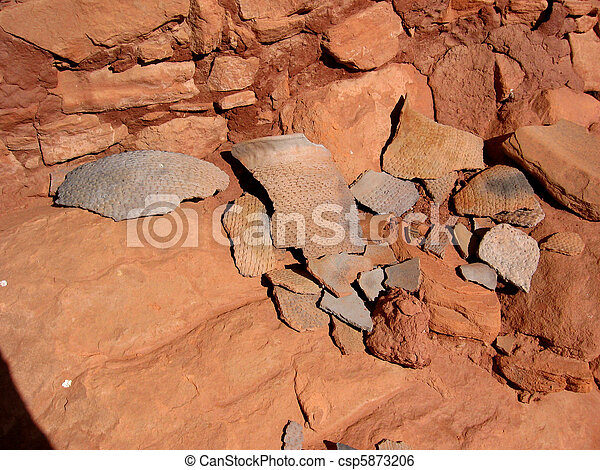 Native American Pottery Sherds - csp5873206