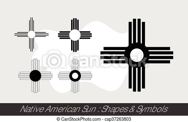 Native American Sun Symbols Vector Illustration