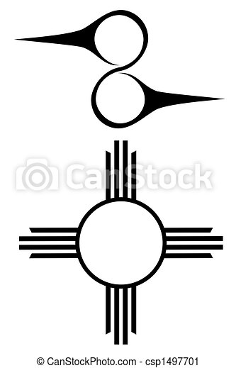 set of two native american symbols clipart search illustration rh canstockphoto com Native American Thunderbird Clip Art Native American Tee Pee Clip Art
