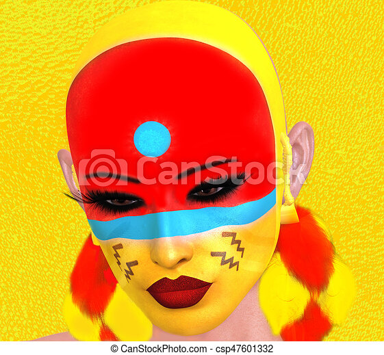 Native American Woman with abstract colorful painted face - csp47601332