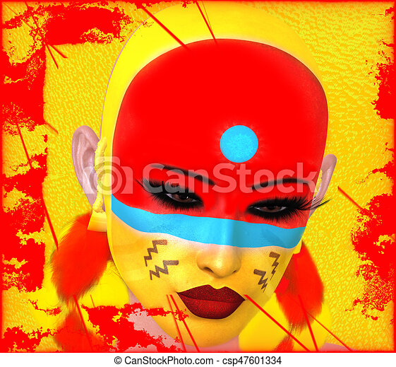 Native American Woman with abstract colorful painted face - csp47601334