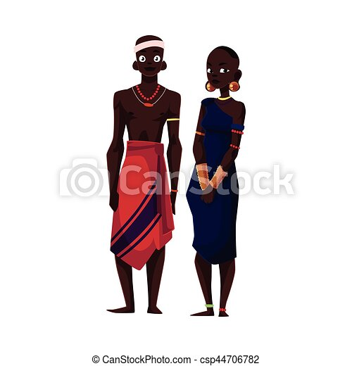 Native black aboriginal man and woman from African tribe - csp44706782