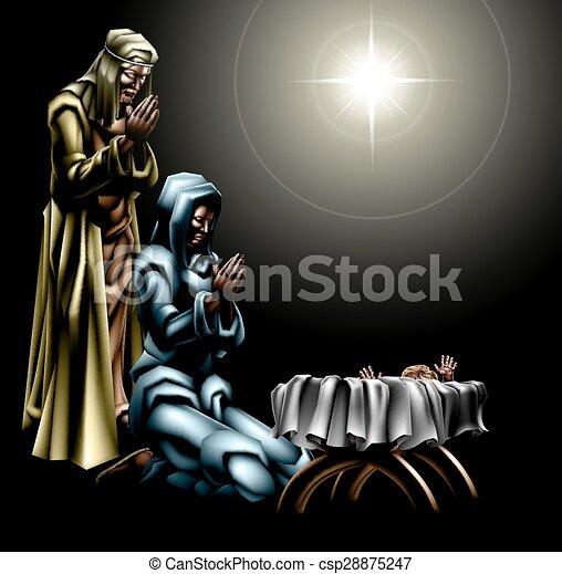 natividad, cristiano, escena navidad - csp28875247