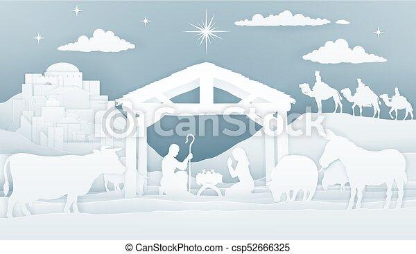 natividad, cristiano, escena navidad - csp52666325