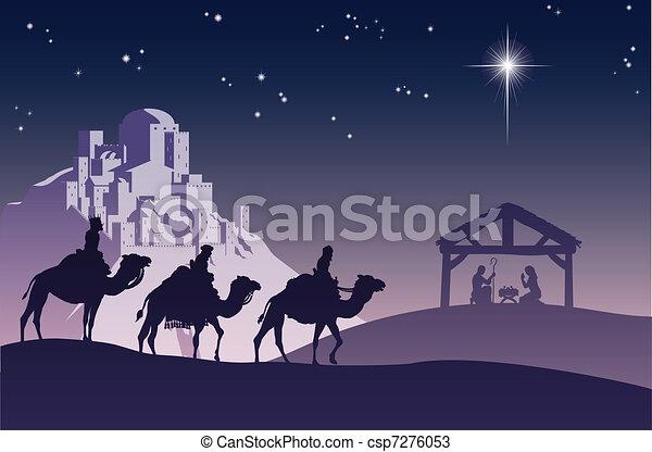 natividad, cristiano, escena navidad - csp7276053