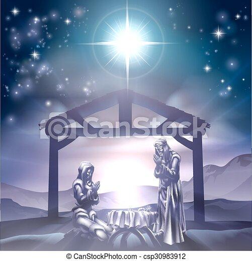 natividad, escena navidad - csp30983912
