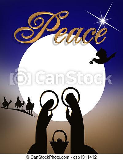 Escena de natividad navideña - csp1311412