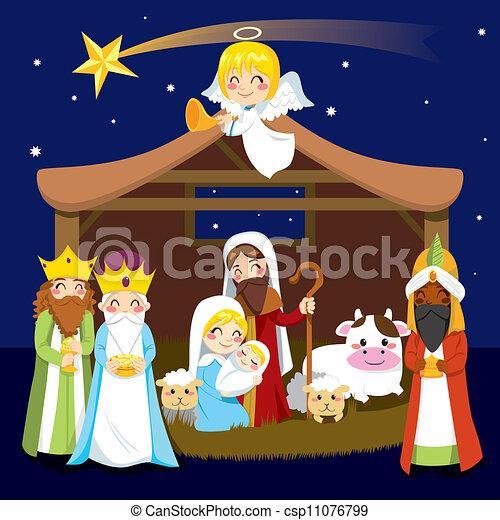 Escena de natividad navideña - csp11076799