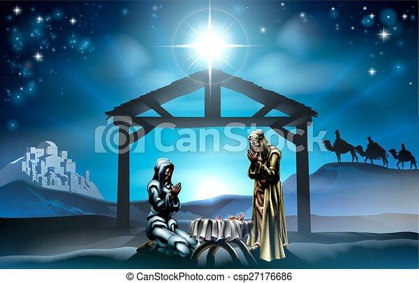 natividad, escena navidad - csp27176686