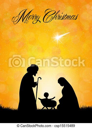 Escena de natividad navideña - csp15515489