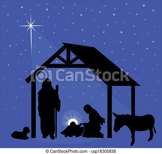 natividad, escena navidad - csp16305838