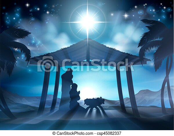 natividad, escena navidad - csp45082337