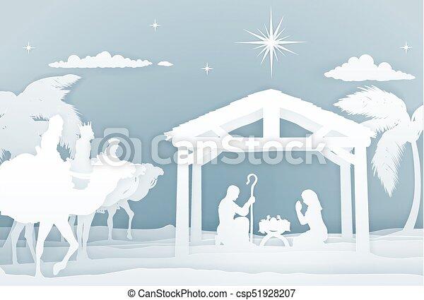natividad, estilo, navidad, papercraft, escena - csp51928207