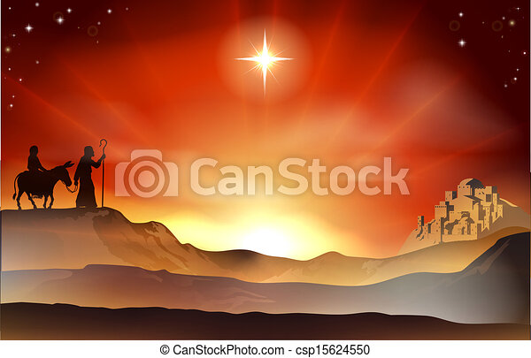 La historia de Navidad de la Natividad ilustrada - csp15624550