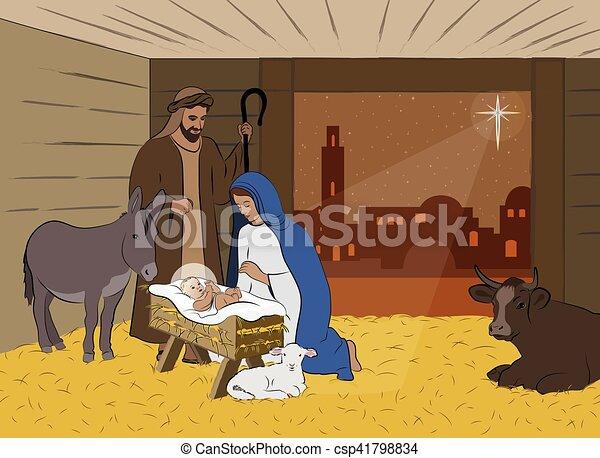 natividad, navidad, ilustración, escena - csp41798834