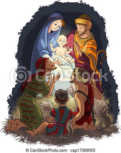 nativité, berger, joseph, marie, jésus - csp17069003