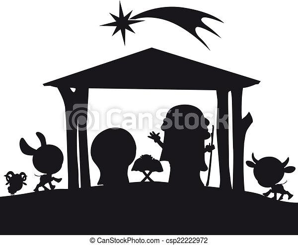 nativité, silhouette, noël, illustration - csp22222972