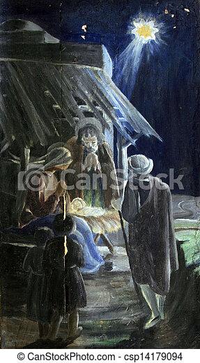 nativity 場面 - csp14179094