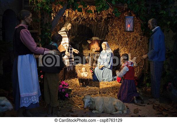 nativity, 賢い, &, 男性, 3, 現場, 贈り物, ヨセフ, イエス・キリスト, 提出すること, 赤ん坊, mary, クリスマス - csp8763129