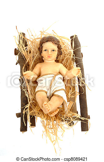nativity, baby jesus in his crib - csp8089421