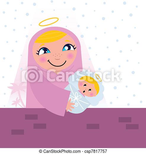 Nativity Bethlehem scene: Virgin Mary and Baby Jesus   - csp7817757