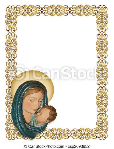 nativity christmas border image and illustration composition rh canstockphoto com christmas frame clipart png christmas frame clipart png
