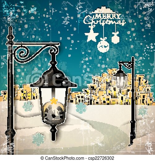 Nativity in to a lamppost - csp22726302