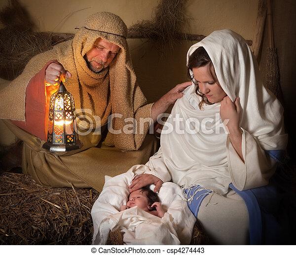 Nativity scene alive - csp4274443