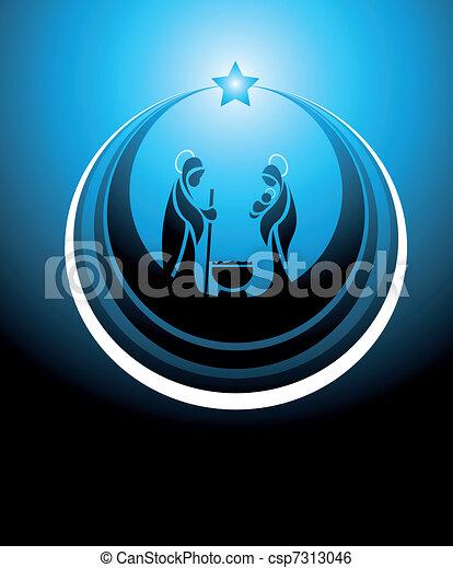 nativity scene icon - csp7313046