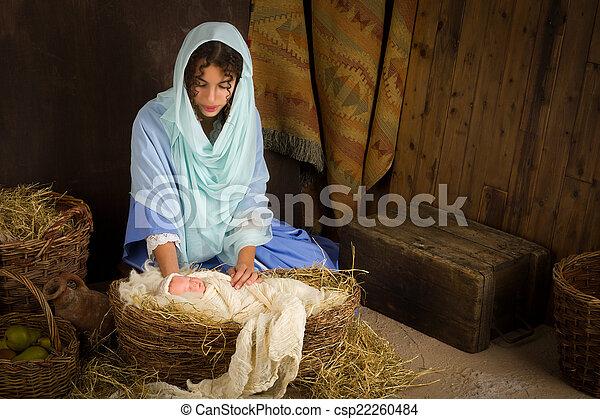 Nativity scene in manger - csp22260484