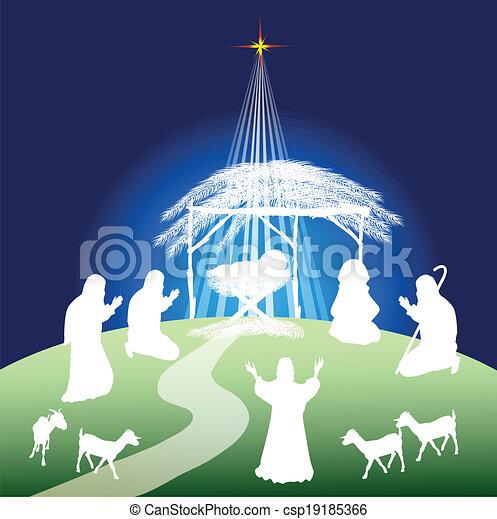 Nativity scene silhouette  - csp19185366