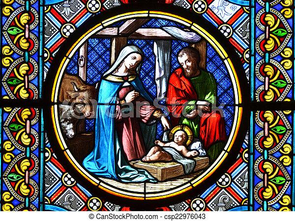 Nativity Scene. Stained glass window - csp22976043
