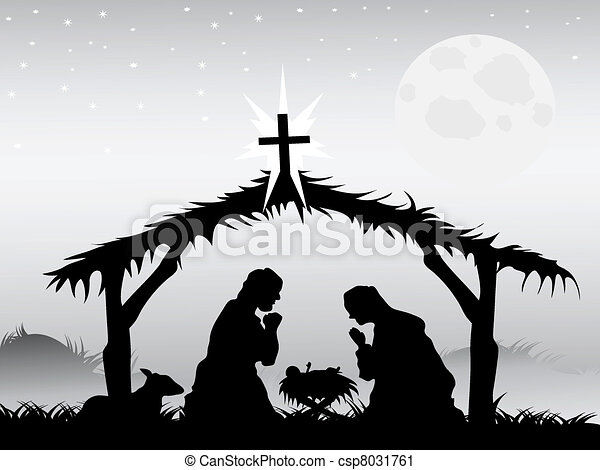 nativity scene, vector - csp8031761
