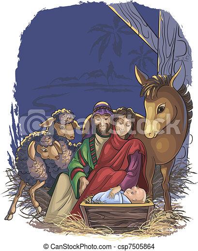 Nativity scene with Holy Family - csp7505864