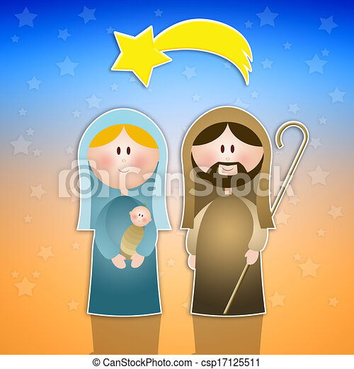nativity scene with mary joseph and jesus christ clipart search rh canstockphoto com Sheep Clip Art mary joseph and baby jesus clipart