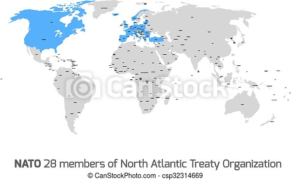 nato member countries in vector world map