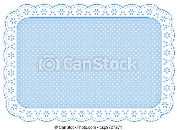natte bleue, polka, endroit, napperon, point, dentelle - csp9727271