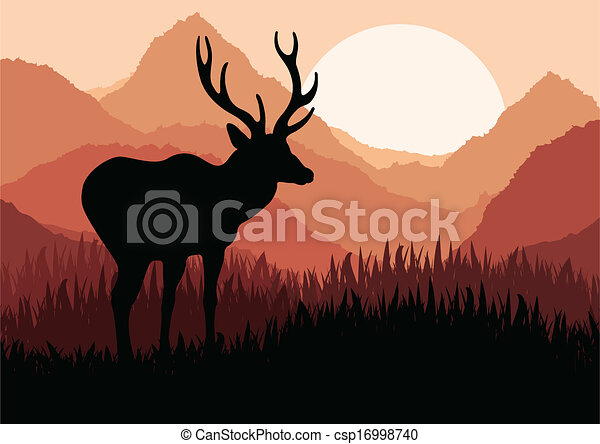 natur, hirsch, abbildung, regen, wild, belebt, landschaftsbild - csp16998740