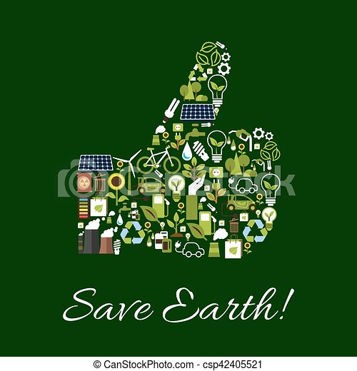Natur, symbol, auf, schutz, daumen, erde, retten. Ökologie ...