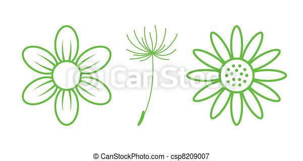 natura, -, icons., parte, verde, 9, fiori - csp8209007