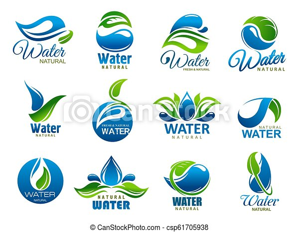 Natural And Mineral Water Vector Icons